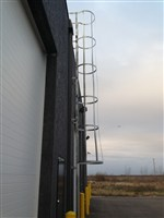Galvanized Ladder with Cage and Lockout
